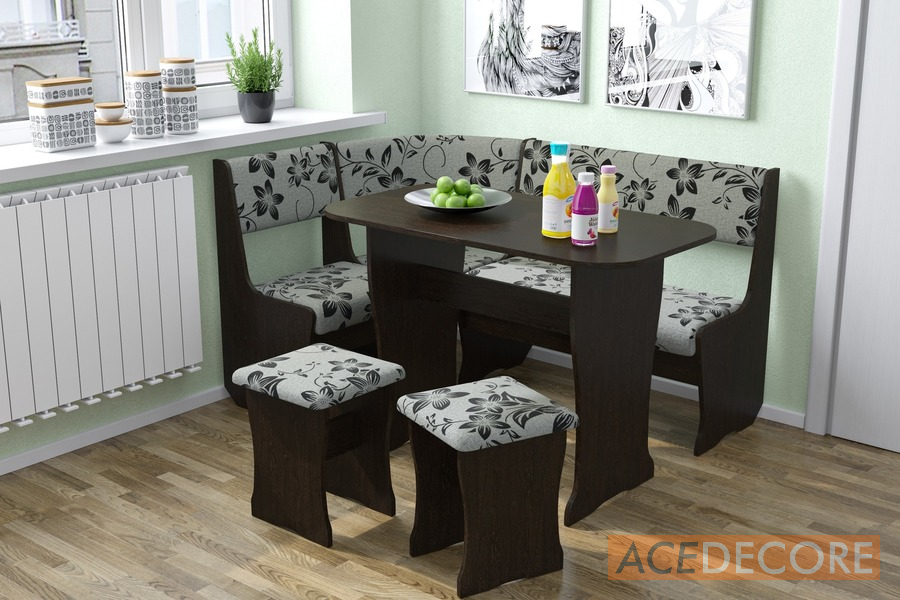 FIJI Kitchen Nook Dining Table Set L-Shaped Storage Bench Dark Oak/Floral & FIJI Kitchen Nook Dining Table Set L-Shaped Storage Bench Dark Oak ...