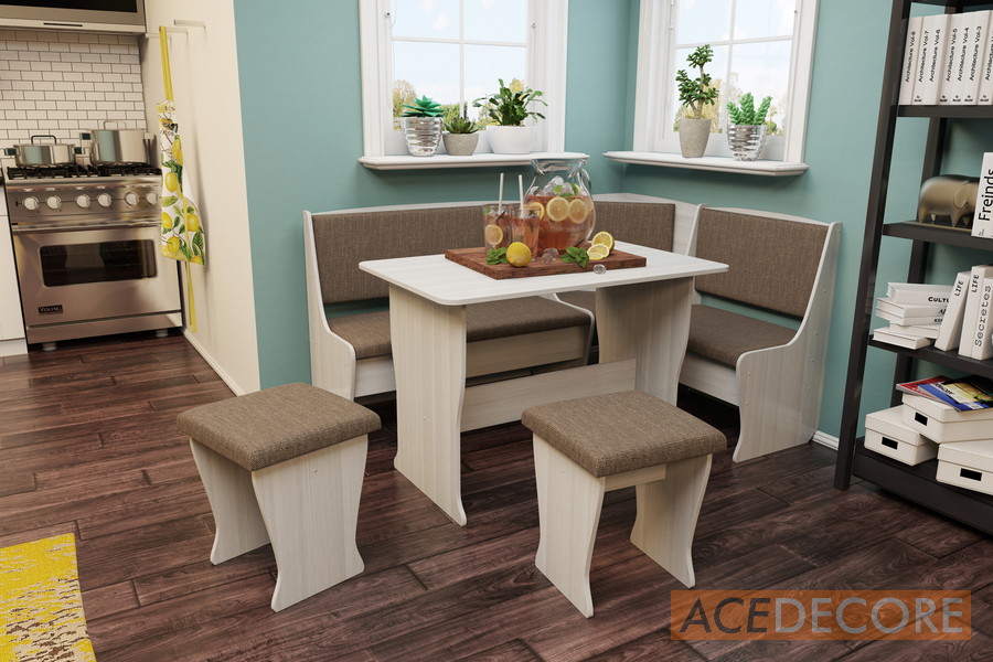 Kitchen Nook Dining/Butterfly Table Set L Shaped Storage Bench